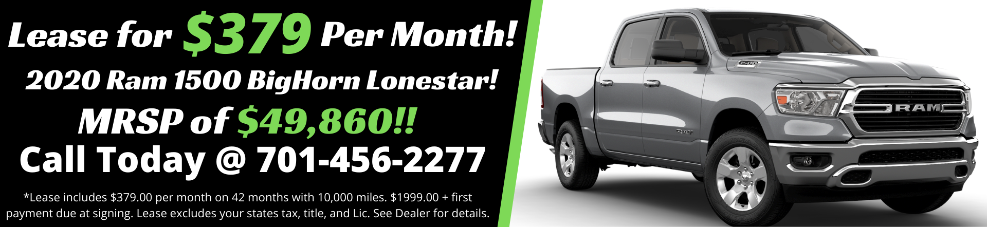 Lease a 2020 RAM 1500 BigHorn Lonestar for only $379 per month!